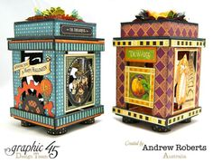 Genius altered lanterns by Andrew Roberts using Steampunk Spells and An Eerie Tale and Petaloo flowers #graphic45 #petaloo