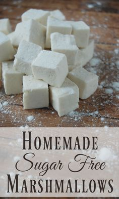 - Where has this been all my life? No more guilt tripping over marshmallows for me! These things are practically a health food once you ditch all the yucky ingredients that most store bought marshmallows have! Desserts Keto, Sugar Free Desserts, Sugar Free Recipes, Paleo Dessert, Gluten Free Desserts, Candy Recipes, Dessert Recipes, Fudge Recipes, Sugar Free Foods