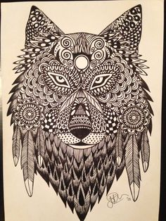 Fine liner sketch / Psychedelic Wolf Colorful Pictures, Spirit Animal, Colour Images, Adult Coloring, Psychedelic, Dog Cat, Wolf, Tattoos, Creative