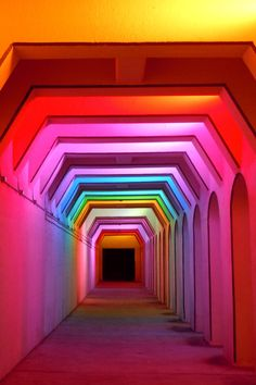 Light Art (artist - Bill Fitzgibbons) at the Street railroad underpass, Birmingham, Alabama. The light show constantly changes, and is a fun visual experience! Rainbow Aesthetic, Neon Aesthetic, Espace Design, Instalation Art, Neon Lighting, Event Lighting, Wedding Lighting, Rainbow Colors, Rainbow Room