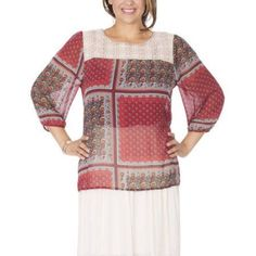 LOVE this Perfect Boho and crochet top <3   Plus Moda Women's Plus Lace Detail Woven Blouse