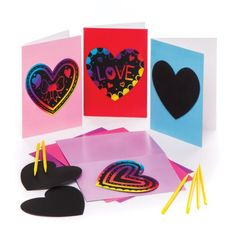 Baker Ross Heart Scratch Art Greeting Cards - 6 Craft Heart Themed Greeting Cards To Personalize. Mothers Day Crafts, Crafts For Kids, Arts And Crafts, Paper Crafts, Children Crafts, Pop Out Cards, Scratch Art, Heart Crafts, Handmade Greetings