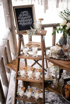 Cookies and milk station | Lovely Peonies Photography | see more on: http://burnettsboards.com/2015/12/cozy-winter-wedding-knit-details/