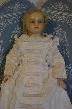 Poured wax shoulder head English doll from lafarandolls on Ruby Lane