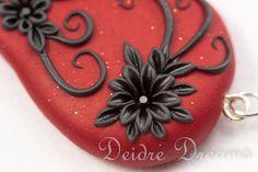 Goth Wedding Red Black Dangle Drop Earrings  by DeidreDreams, $45.00