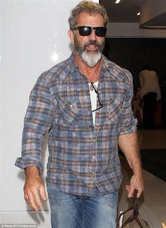 Mel Gibson shows off scruffy plaid shirt and grizzly grey ...