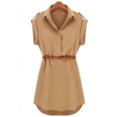Cap Sleeve estiramento camisa de chiffon Mulheres Casual mini vestido com cinto