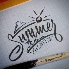 Summer Vacation  #practice #sharpie #lettering #typeinspire #typography #calligraphy #handdrawing #handlettering #creative #idea #designgraphic #bizantium #hand #brushpen #penbrush #ink #cursive #script #summer by zulhadi_jroh