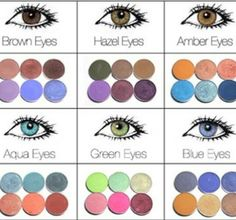Perfect colors for eye contrast!! I would only follow the ones in the 2nd row. Never wear the same colors that matches your eyes if you really want them to pop.