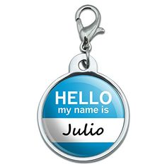 Chrome Plated Metal Small Pet ID Dog Cat Tag Hello My Name Is JOKA  Julio *** You can find out more details at the link of the image. (Note:Amazon affiliate link)