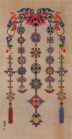 Yonglakdo by the Venerable ManBong Korean Traditional, Traditional Design, Korean Design, Chinese Patterns, Tibetan Art, Oriental Pattern, Blue Painting, Korean Art, Pattern And Decoration