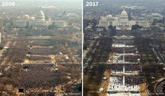 Donald Trump's inaugural crowds don't quite measure up to Barack Obama's