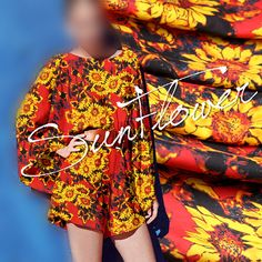 100% Pure Silk Red Crepe de Chine Fabric with Sunflower Print
