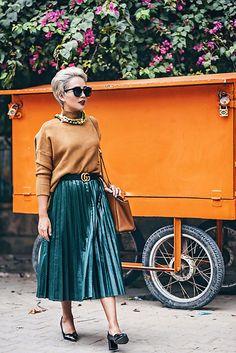 Nilu Yuleena Thapa - Chicwish Pleated Midi Skirt, Chic Wish Mustard Turtleneck, Gucci Gg Belt, Michael Kors Selma Luggage - Winter Tones
