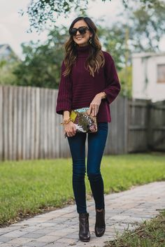 PURPLE SWEATER + FUN ACCESSORIES Sequins and Things waysify