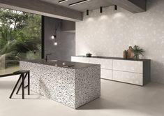 Porcelain stoneware wall/floor tiles terrazzo effect MEDLEY GREY Medley Collection By Ergon Terrazzo Flooring, Wall And Floor Tiles, Floor Design, Home Look, Classic White, Home Collections, Cement, Modern Contemporary, Minimalism