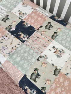 Your place to buy and sell all things handmade Woodland Crib Bedding, Woodland Nursery Girl, Girl Nursery Bedding, Navy Nursery, Elephant Nursery, Woodland Theme, Woodland Baby, Baby Bedroom, Baby Bedding