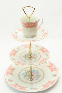 Pink and Ivory Tiered Cookie Plates