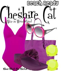 """Inspired by the Cheshire Cat from Disney's 1951 animated film """"Alice in Wonderland"""" - Shopping info! Disney Bathing Suit, Bathing Suits, Funky Outfits, Cute Outfits, Alice In Wonderland Outfit, Flower Shoes, Disney Outfits, Disney Fashion, Fandom Fashion"""