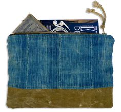 Indigo and canvas pouch | for larger daily necessities