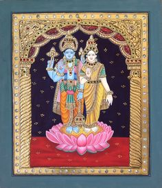Tanjore Rama Sita Painting Handmade Indian Thanjavur God Goddess Hindu Folk Art