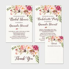 Rustic Floral Bridal Shower Invitation by MossAndTwigPrints