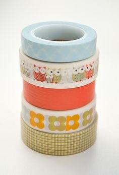 Washi Tape Set 15mm Pastel Owls Five Rolls Washi by InTheClear