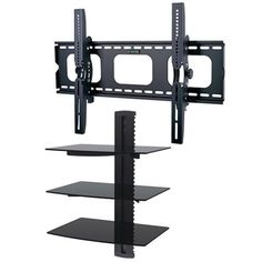 2xhome - TV Wall Mount with 3 Shelves Up to 85 inches TV Floating Shelf with Strengthened Tempered Glass   $80