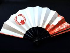 Japanese Dance Fan Mai Ogi Red White Gold by VintageFromJapan