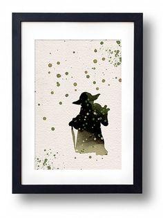 Star Wars yoda watercolor illustrations art sci fi poster wall art minimalist art home decor movie poster geek art