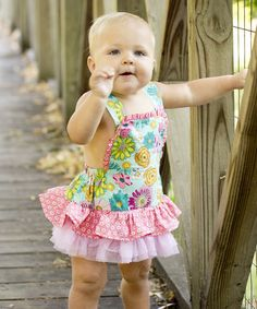 Look what I found on #zulily! Blue & Pink Floral Skirted Apron Bodysuit - Infant #zulilyfinds