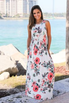 Off White Floral Maxi Dress with Pockets