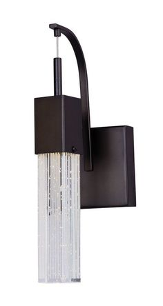 ET2 E22760 Fizz III 1 Light 14.5'' Wall Sconce with Patterned/Etched Glass Shade Bronze Indoor Lighting Wall Sconces