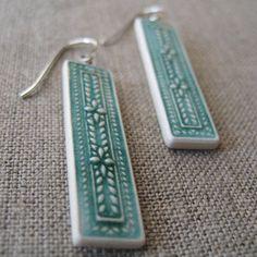 ivy earrings peacock  handmade porcelain jewelry by by sofiamasri, $54.00