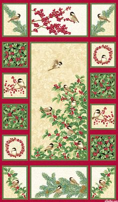 "Chickadees & Berries - Cream/Gold - 24"" x 44"" PANEL"
