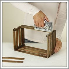 Build a Paint Stick Basket ‹ Build Basic Paint Stick Crafts, Popsicle Stick Crafts, Popsicle Sticks, Diy Wood Projects, Diy Projects To Try, Woodworking Projects, Woodworking Plans, Paint Stir Sticks, Painted Sticks