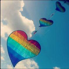 Rainbow colored heart kite