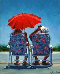 Karin Jurick - Love these colors! Couple Painting, Figure Painting, Parasols, Umbrellas, Figurative Kunst, Umbrella Art, Acrylic Artwork, Arte Pop, Beach Scenes