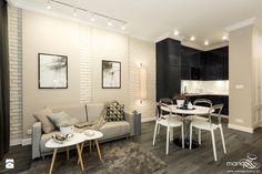 MIESZKANIE POD KRÓTKOTERMINOWY WYNAJEM - 38M2 - RAKOWICKA KRAKÓW - Średni salon z kuchnią z jadalnią, styl eklektyczny - zdjęcie od MANGO Studio Architektury Wnętrz i Ogrodów
