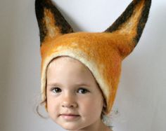 Realistic Fox Animal Hat with Ears / Hand Felted Wool - Unisex / Sizes for Toddler, Kid, Adult