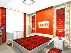 Modern hálószoba lakberendezése nomád elemekkel 3d Interior Design, Bedrooms, How To Plan, Building, House, Furniture, Home Decor, Decoration Home, Home