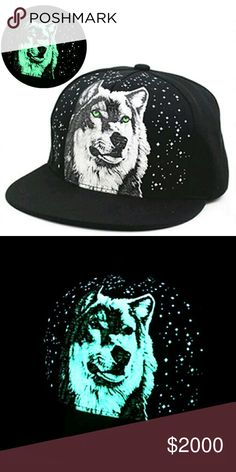 """COMING SOON 🌙  Luminous Lone Wolf Snapback 1 Black Snapback Hat with a bright Luminous  (Glows in the Dark!) Lone Wolf under the Night Sky Monogram 🌟 Unisex!    Luminous products require extended exposure to either natural or artificial light to """"charge"""" 🌞💡🔦 NorCalCloset Accessories Hats"""