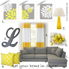 Grey & Yellow.. SO SO IN!! Want it!   Lists where you can buy each item.