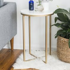 Mistana Wasser End Table Sofa Design, Interior Design, Joss Y Main, Small Accent Tables, Etagere Bookcase, Round Side Table, White Area Rug, Blue Area, Basement Remodeling