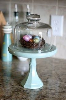 DIY cloche with cheese dome & candle stick from Goodwill
