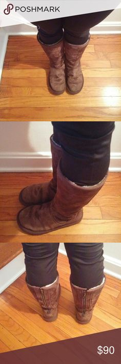 Brown Tall Ugg Boots Tall Ugg boots in brown  Zippers in perfect condition  Minor stains from snow but other wise excellent condition! UGG Shoes Winter & Rain Boots