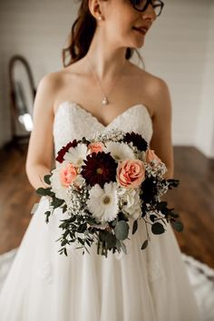 Burgundy dahlias, White gerbera daisies, blush roses, baby's breath, and Eucalyptus wedding bouquet. Created by Rhinestones and Roses bouquets babys breath Gerbera Daisy Bouquet, Daisy Bouquet Wedding, Anemone Wedding, Gerbera Daisies, Dahlias, Wedding Flowers, Gerbera Daisy Centerpiece, Flower Boquet, Tall Centerpiece