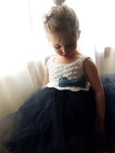 Navy Blue/White Crochet Bodice Tutu Dress with Blue Bow - Make for Easter next year?