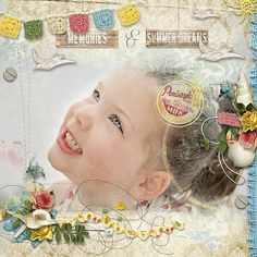 Digital Scrapbook Page Inspiration, Vintage Summer Kit by Etc by Danyale #  Blend & Layer {03-06} By Studio Rosey Posey
