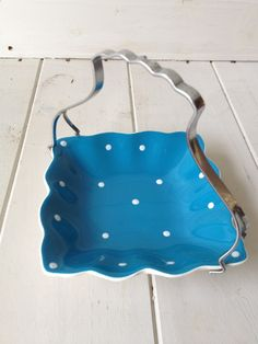 VINTAGE BLUE & WHITE SPOTTY MIDWINTER CAKE STAND/SWEET DISH